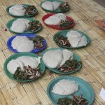 A meal of nsima, dried fish and vegetables